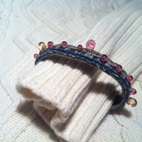 Recycled Denim Bracelet Beautiful Soft Pink by TwoSisters2Sis