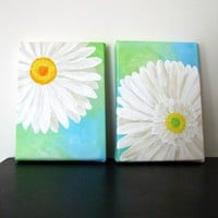 Original Painting WHITE DAISY Set Two 5x7 Acrylic by nJoyArt