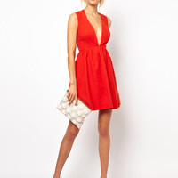 ASOS | ASOS Deep Plunge Skater in Jacquard Dress at ASOS