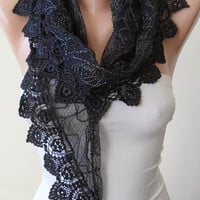 Mother&#x27;s Day - Black Lace Scarf with Black Lace Trim Edge - Triangular - silvery