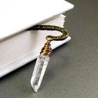 Bookmark rough stone raw clear crystal quartz point by NatureLook