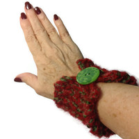 Hand Knit Cuff/Bracelet Green Red