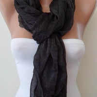 New Scarf - Gift - Black Scarf - Tulle Fabric - Seamless Shawl