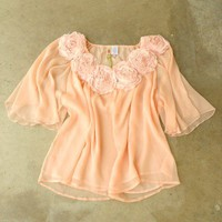 Gathered Sweet Rosette Blouse [2588] - $32.00 : Vintage Inspired Clothing &amp; Affordable Summer Frocks, deloom | Modern. Vintage. Crafted.