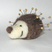 hedgehog pin cushion needle felted by colouritgreen on Etsy