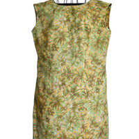 Vintage Summer Dress Handmade Flower Print Yellow Green and Brown Sheath with Cap Sleeves XL/Plus Size