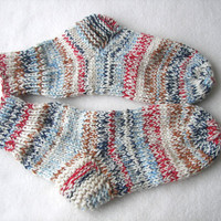 NORDIC LIGHTS Hand Knit USA Socks Extra Thick 100% Wool Super Chunky/ Size 9-11