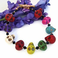 Day of the Dead Skull Handmade Bracelet Swarovski OOAK Unique Jewelry