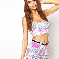 Minkpink Electric Field Bustier in Fluro Floral at asos.com