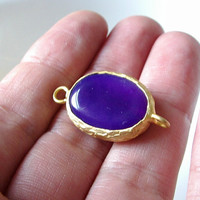 Gold plated with purple jade connector by 1dream on Etsy