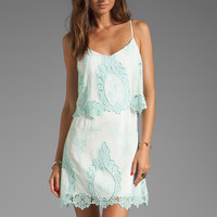 Dolce Vita Jeralyn Petticoat Embroidery Mini Dress in White/Mint from REVOLVEclothing.com