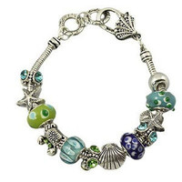 BLUE MURANO BEADS CRYSTAL SEA LIFE CRAB SHELL CHARM SLIDER BRACELET BRIGHTON BAY