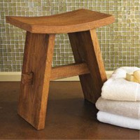 Teak Bath Stool - Wooden Shower Seat - Gaiam