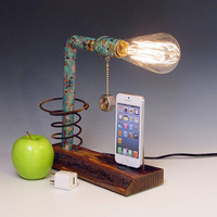 iPhone, iPod dock AND table lamp. iPhone 3, 4, 5. Live edge reclaimed wood. Steam punk. Industrial. (418)