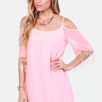 Slide and True Off-the-Shoulder Pink Dress