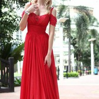 Red Prom Dress - Red Floor Length Evening Dress | UsTrendy