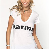 Peace Love World I am Karma L2L V-Neck Tee in White