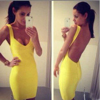 fashion show — Yellow backless sexy dress