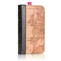 EC TECHNOLOGY 5 in 1 Retro map pattern Genuine handmade leather case for iPhone 4/4S