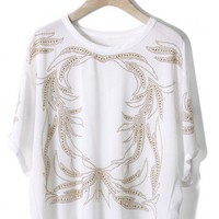Baroque Beads Chiffon Top in White