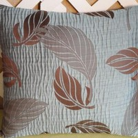 Pillow Cover in Blue and Brown Leaf Pattern Pillow Cover Only