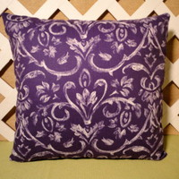 Handmade Pillow Cover in Rich Purple with White Scroll Design