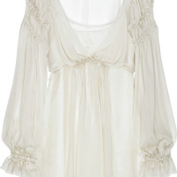 Alberta Ferretti Ruffled silk-chiffon blouse  70% at THE OUTNET.COM