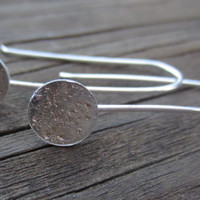 Silver Drop Earrings Silver Dangle Earrings Hammered Silver by TheShedStudios