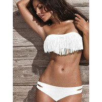 Hi,Showme — 2 PCS White Bikini Fringe Bandeau Top and Bottom Swimsuit Set