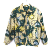 90's Sun, Moon and Stars Silk Bomber Jacket size - M