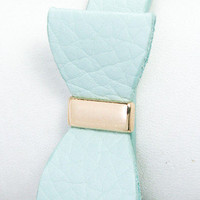 Bow Tie Babe Leather Stud Bracelet - Mint -  $15.50 | Daily Chic Accessories | International Shipping
