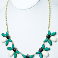Bee's Knees Necklace - White + Teal -  $26.00 | Daily Chic Accessories | International Shipping