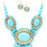 Tribal Bloom Statement Necklace - Turquoise -  $28.00 | Daily Chic Accessories | International Shipping