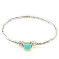 Sunday Best Cable Bracelet -  Silver + Turquoise -  $24.00 | Daily Chic Accessories | International Shipping