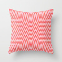 Tangerine Chevron Throw Pillow by Laura Santeler