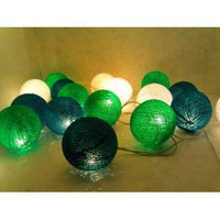 Amazon.com: I Love Handicraft Green Tone Set Color Cotton Ball String Lights Patio Wedding and Party Decoration (20 Balls/set): Everything Else