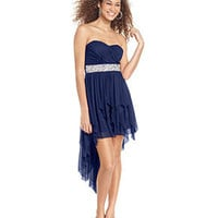 Sequin Hearts Juniors Dress, Strapless High-Low Handkerchief-Hem - Juniors Dresses - Macy&#x27;s