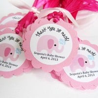 Personalized Pink Elephant Favor Tags for Baby Girl Shower Party