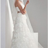Sumptuous A-Line Strapless Chapel Train Lace Wedding Dress With Gray Sash
