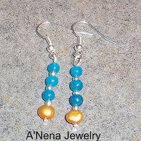 "Earrings: Genuine Sky Blue Quartzite and Genuine Golden Pearl ""Faith"""