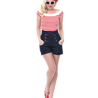 Red &amp; White Striped Coast Guard Top - Unique Vintage - Prom dresses, retro dresses, retro swimsuits.