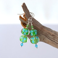 Lampwork earrings with sterling silver and by CraftemallHandmade