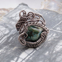 Goth Wire Wrap Gunmetal Ring with Chrysocolla Bead by studiodct