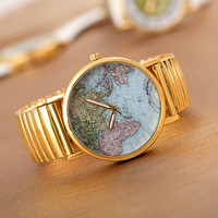 Maps Print Face Watch