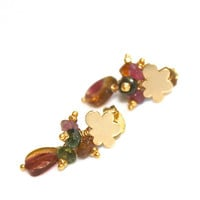 Watermelon Tourmaline Slice Earrings Tiny Cloud Gold Gemstone Jewelry