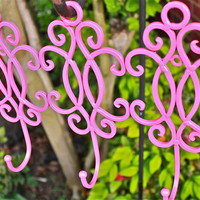 Metal Wall Hook /Pink /Bright Shabby Chic Decor by AquaXpressions