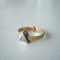 Geometric Triangle brass ring