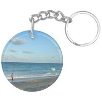 Couple walking on florida beach w seagull keychain from Zazzle.com