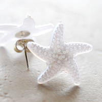 Starfish Earrings, White Star Fish, Nautical Ocean Beach Jewelry