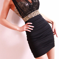 Black Sexy Mesh Sequined Dress